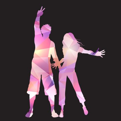 Party couple on a low poly background