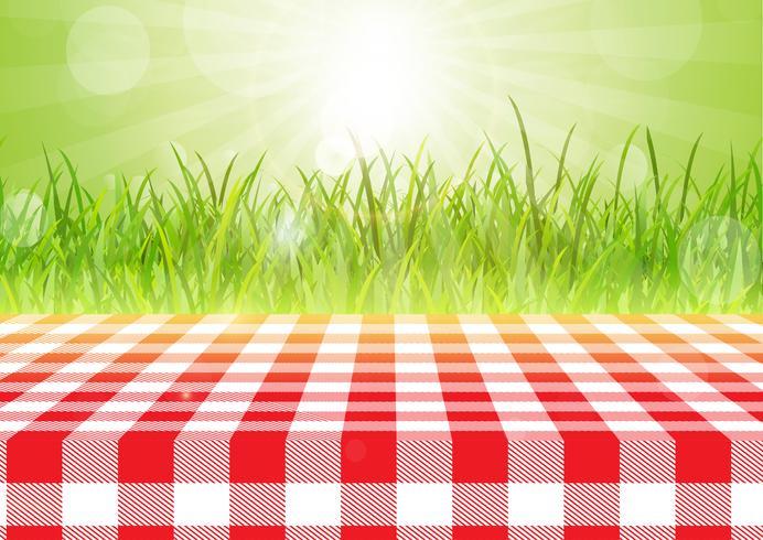 Toalha de mesa vermelha e branca contra um fundo defocussed 0407
