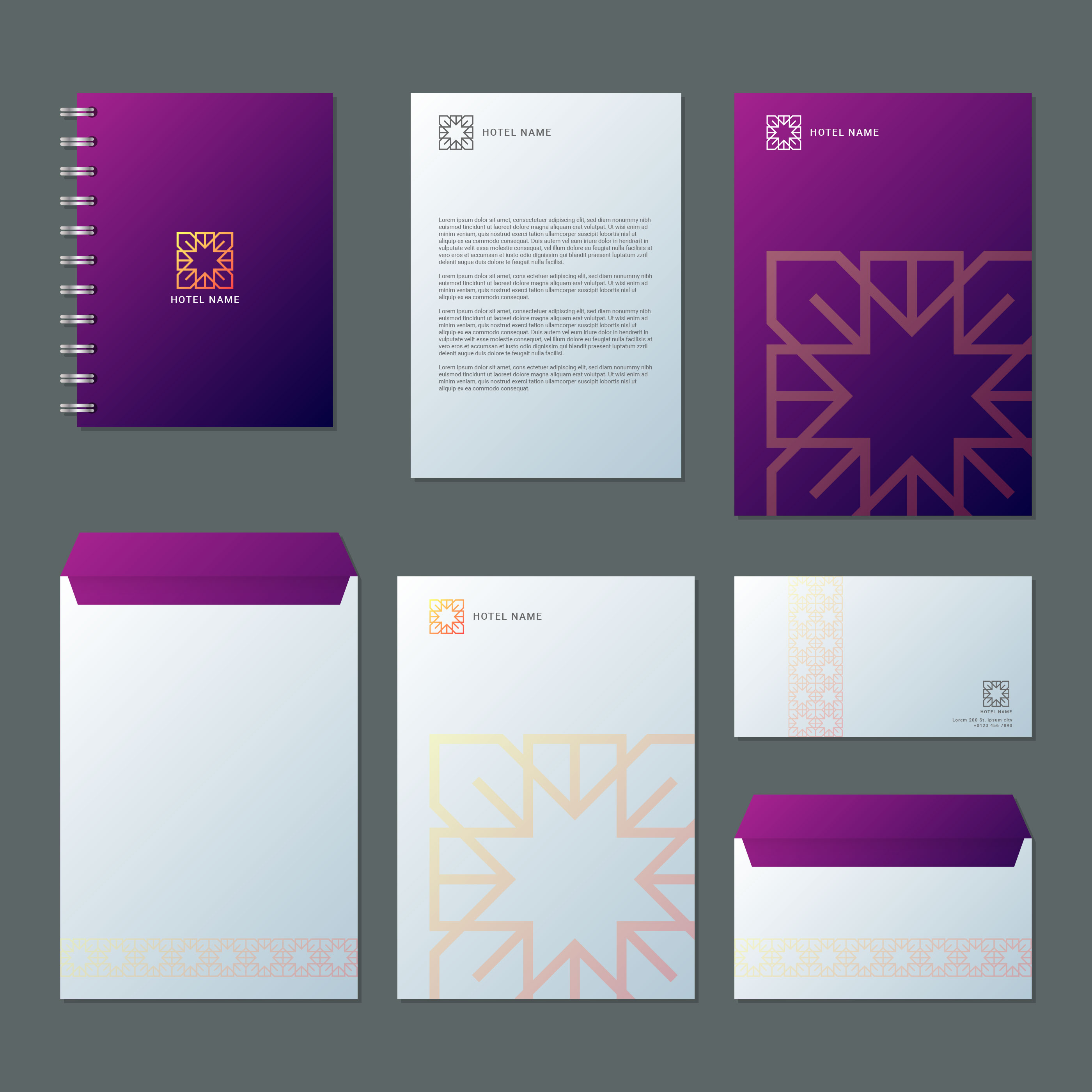 business hotel and resort spa branding identity template