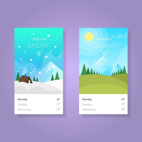 Flat Väder Apps Skärm Med Gradient Bakgrund Vektor Illustration