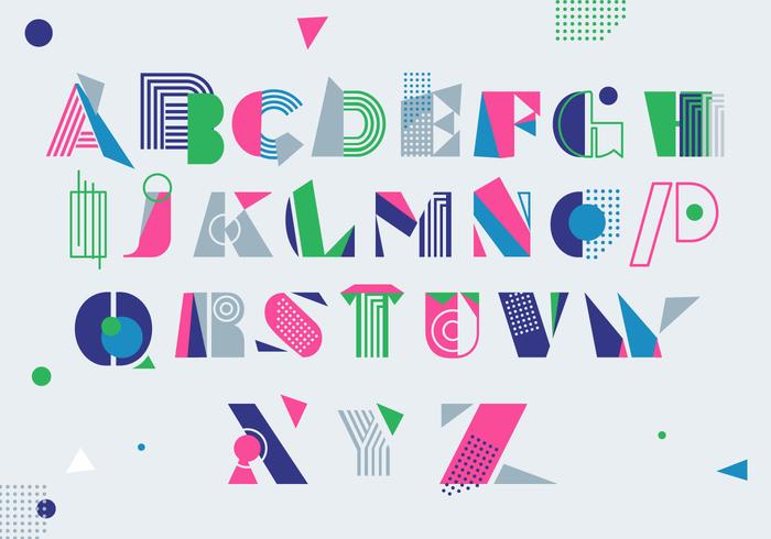 Modern Colorful Memphis Style  Alphabet Vector