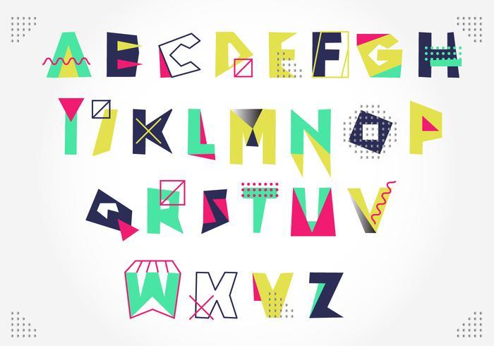 Artistic Colorful Memphis Style Alphabet Vector