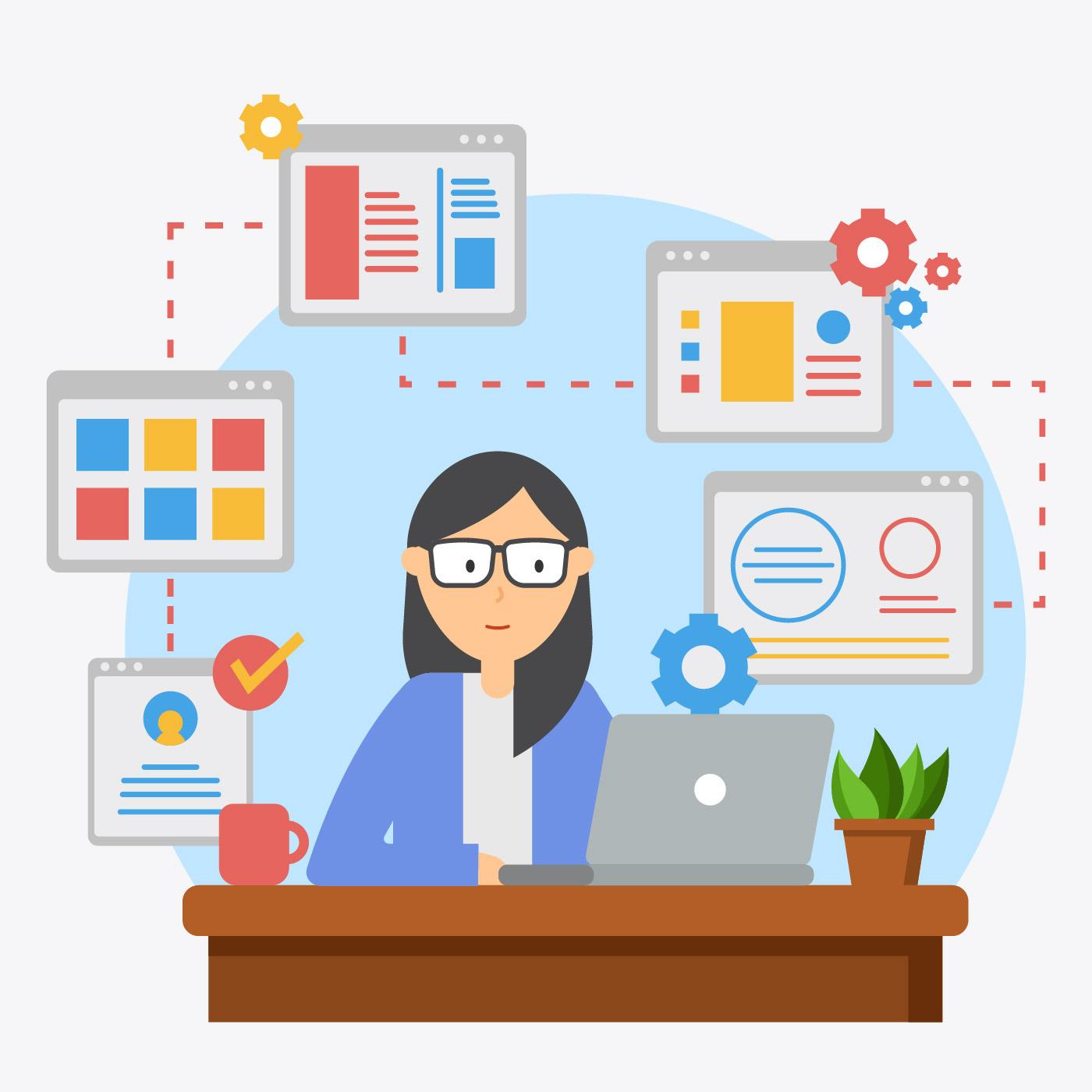 Vector Illustration Web Designs: Female Web Developer Illustration Vector
