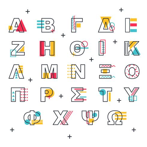 Memphis Greek Alphabet Vector - Download Free Vector Art, Stock