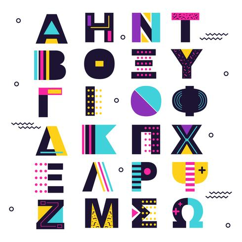 Abstrakter griechischer Alphabet-Vektor