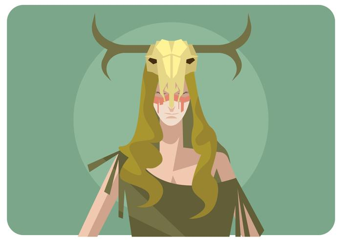 A Girl With Deer Skull Vector