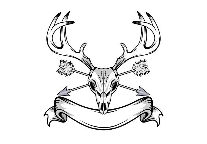 Herten schedel illustratie