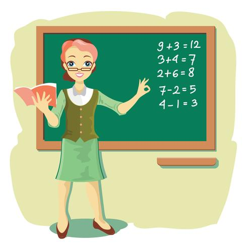 Teacher at Blackboard explica Matemáticas para niños