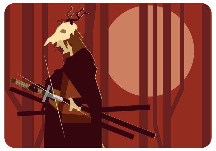 Hjort Skull Head Samurai Vector