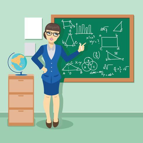 Jovem professor na sala de aula que dá uma lição de matemática