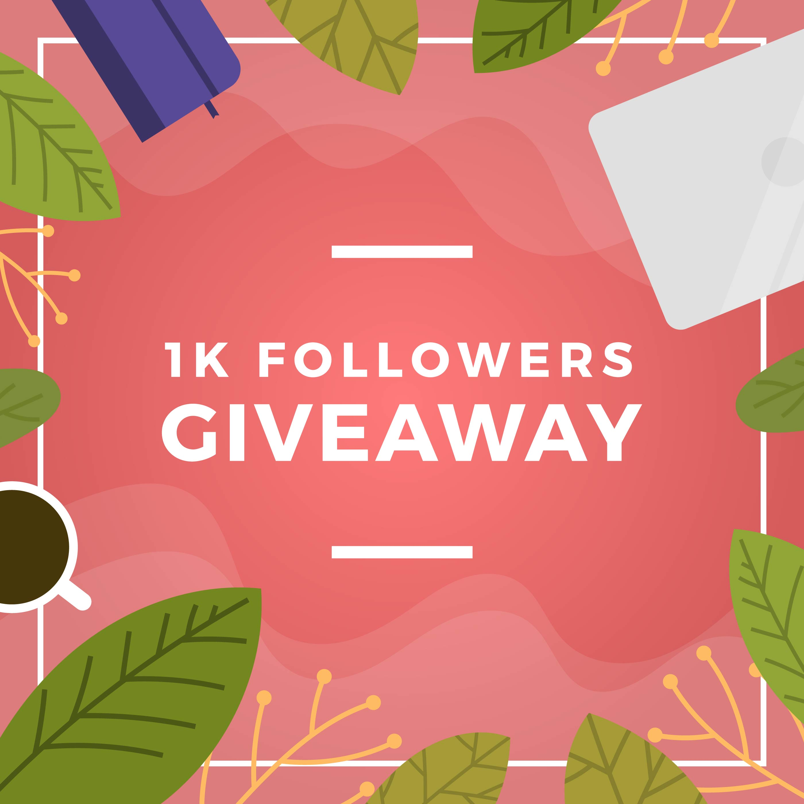 Vector Illustration Instagram: Flat Floral And Stuff Instagram Contest Giveaway Template