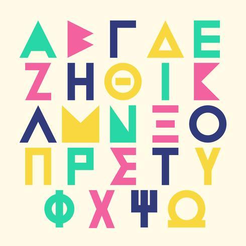 Alphabet grec sur Memphis Style lettres ensemble de polices