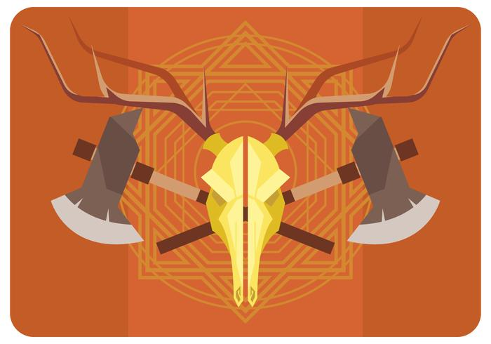 Deer Skull and Axes Vector