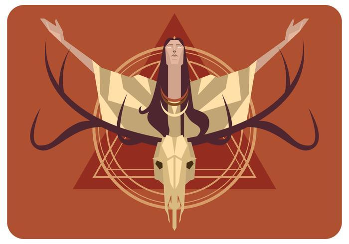blind kvinna och hjortskalle vektor
