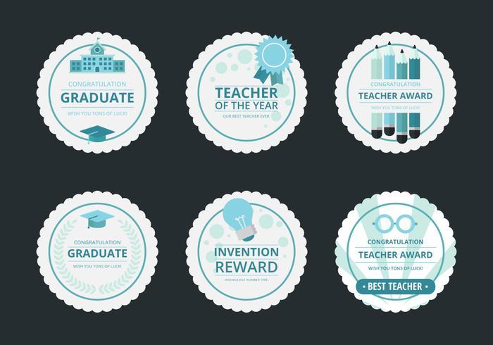 Conjunto de adesivos de recompensa de professor, distintivo e conjunto de emblema