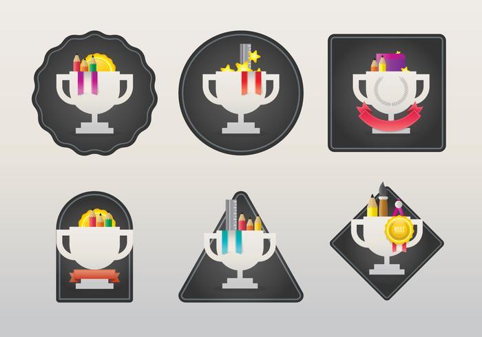 Juego de insignias, distintivos y emblemas de etiqueta de recompensa de profesor