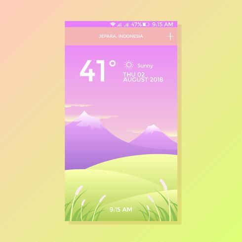 Vettore dello schermo di app di tempo soleggiato