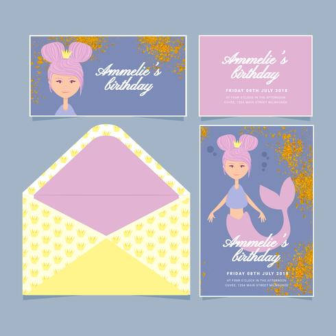 vector mermaid birthday invitation download free vector art stock