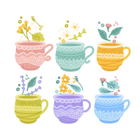 Vector Colorful Tea Cups