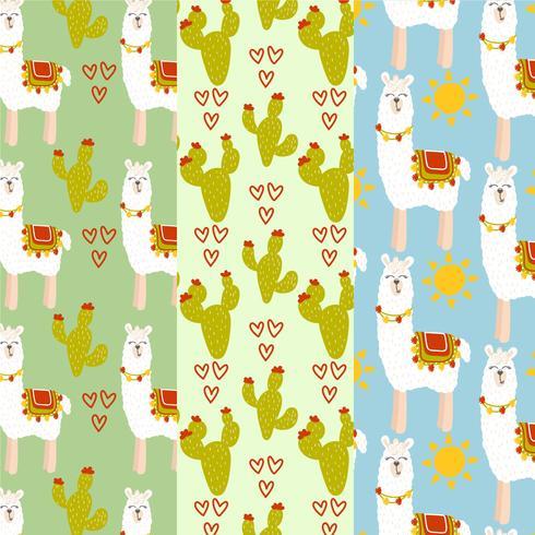 Vector Lamas och Cacti Patterns