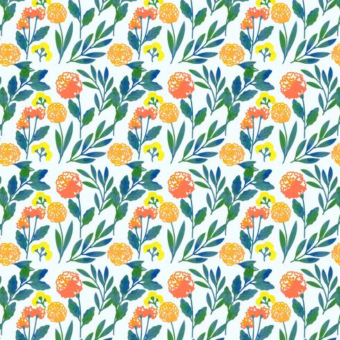 Vector Colorful Hand Drawn Floral Pattern