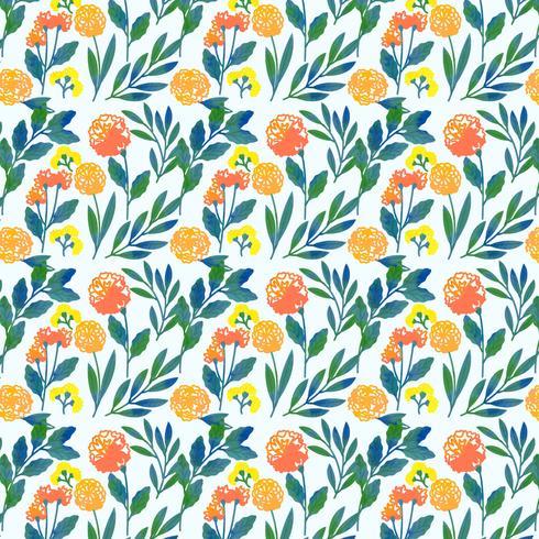 Vektor Färgglada Handdragen Blomönster