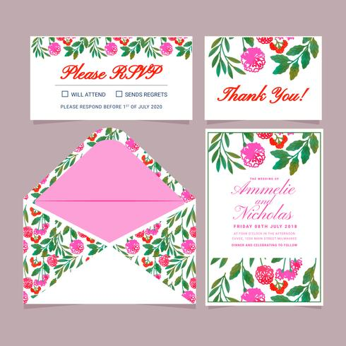 Convite floral desenhado mão do casamento do vetor