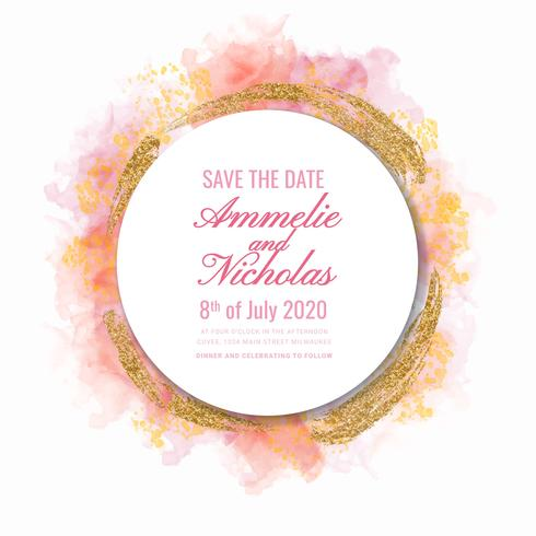 Vector Watercolor and Glitter Save the Date Template