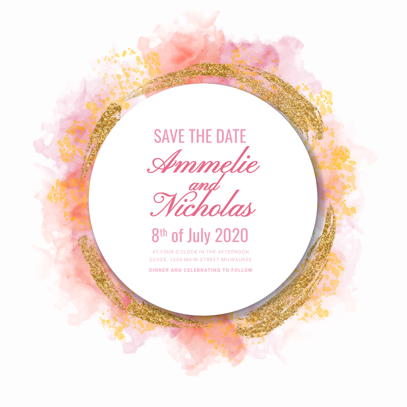 Vector Watercolor and Glitter Save the Date Template - Download Free ...