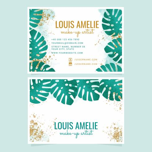 Vector Tropical Leaves Cartes de visite