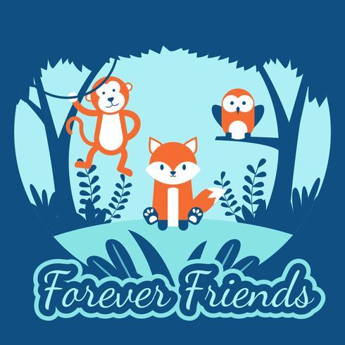 Para sempre amigos animais vector