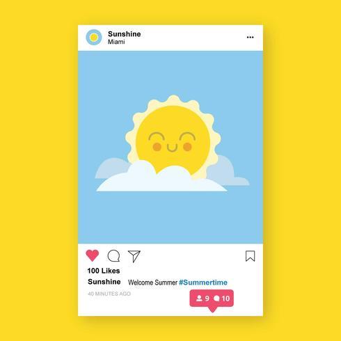 Modello di notifica post Instagram con illustrazione all'interno