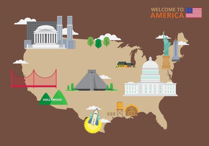 Bienvenue aux USA. Affiche des États-Unis d'Amérique.