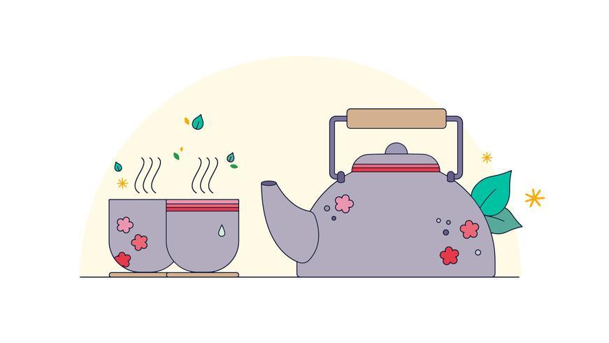 Vector de té japonés