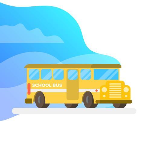 Bus scolaire plat avec fond dégradé Vector Illustration