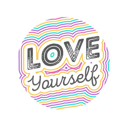 Flat Love Yourself Lettering Typografi Style Vector Illustration
