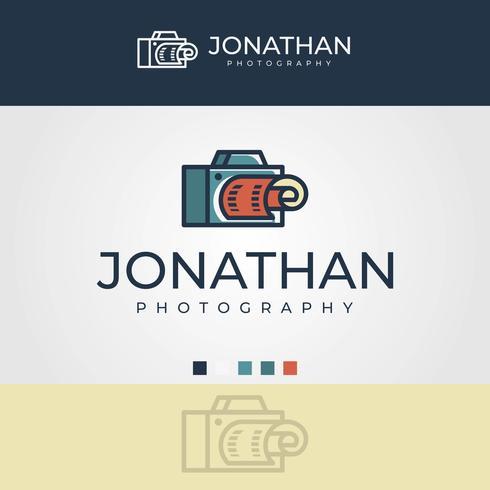 Flat Minimalist Single Lens Reflect Camera Photography Logo  Vector Template