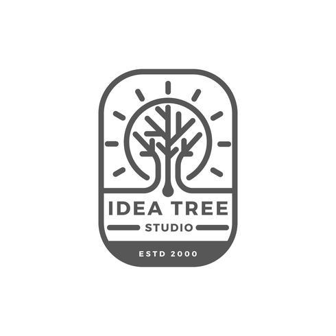 Flat Tree logo Badge Studio Vector Template