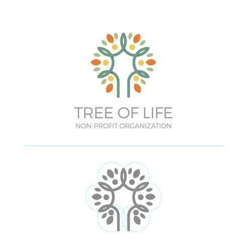 Platte moderne minimalistische Monoline Tree logo kleurrijke Vector sjabloon