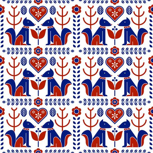 Escandinavo Folk Pattern Seamless vector
