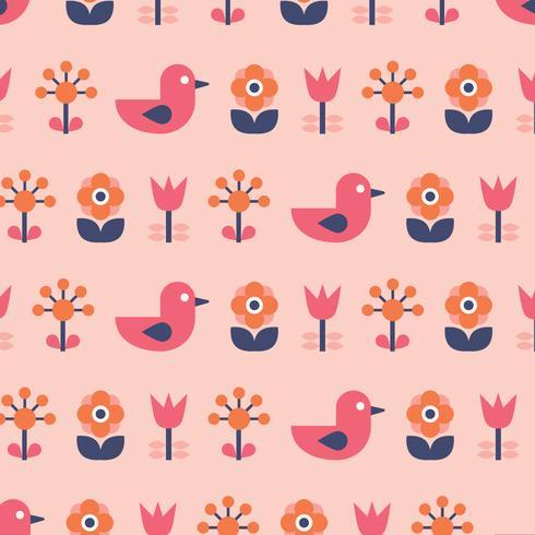 Oiseau Scandinave & Fleurs