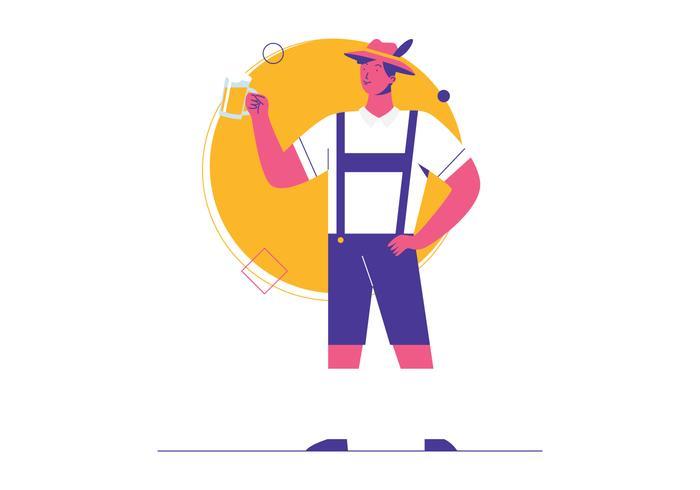 Homem em Lederhosen segurando a caneca de cerveja