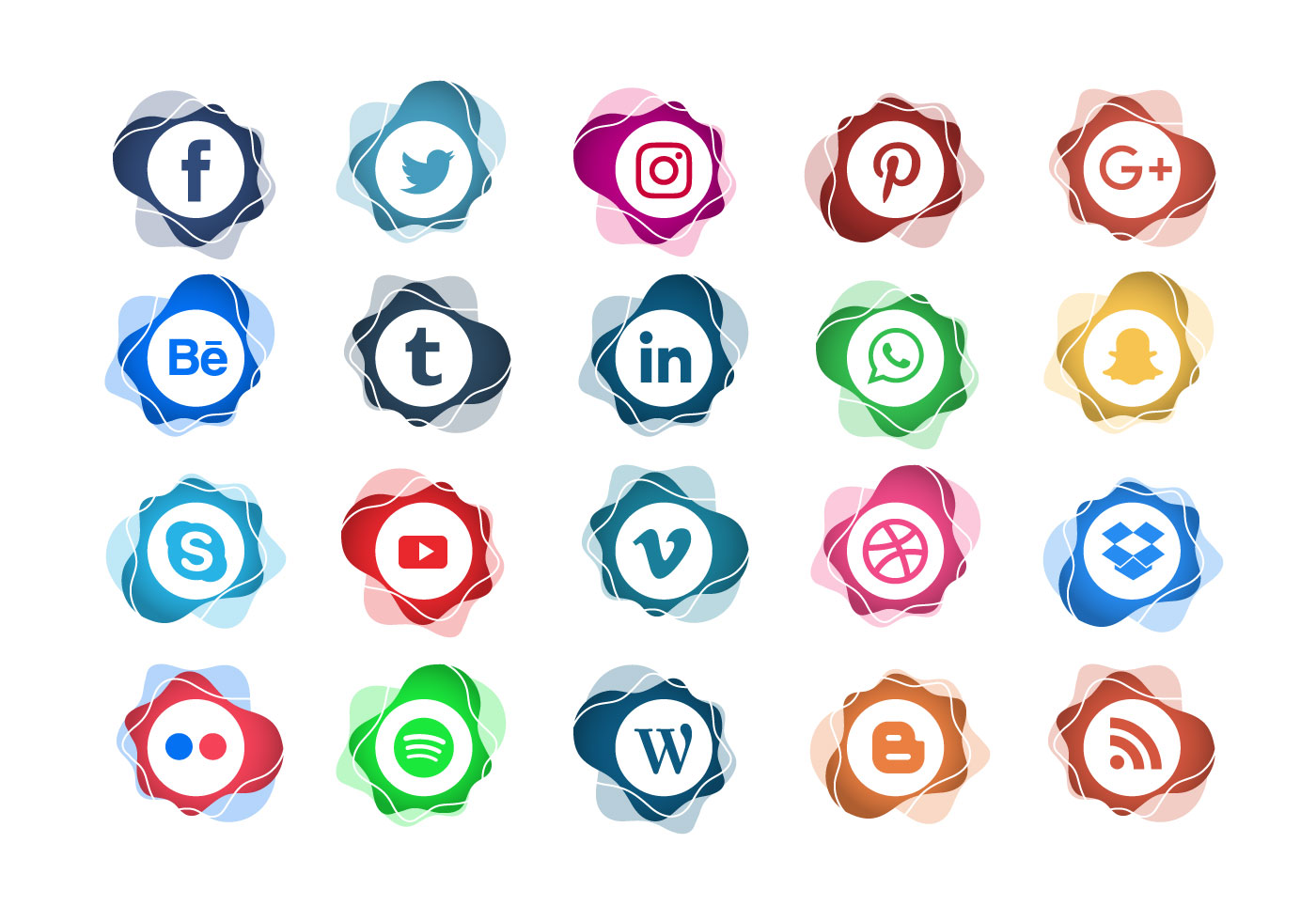 abstract stamp social media icon set vector