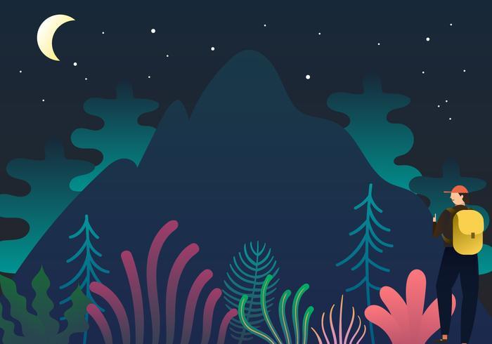 explorador de montaña al aire libre plana