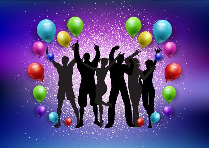 Party crowd på en ballonger och glitter bakgrund