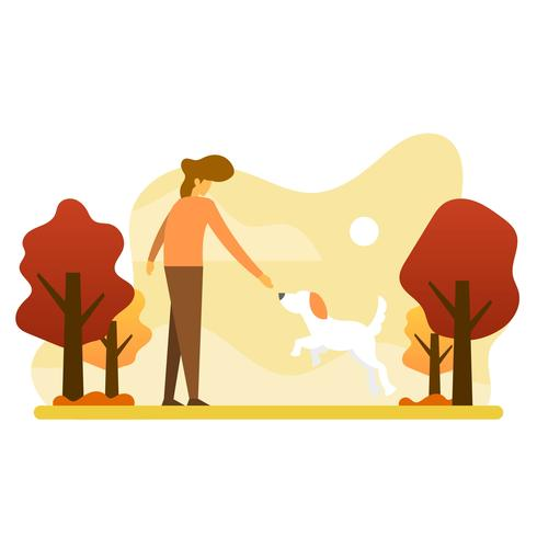 Plat humain jouant avec chien animal ami vector illustration