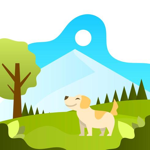 Flat Human Playing With dog animal friend with landscape background vector illustration