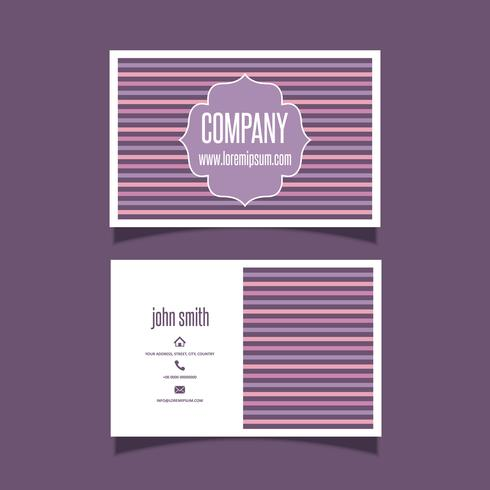 Diseño de tarjeta de visita retro a rayas