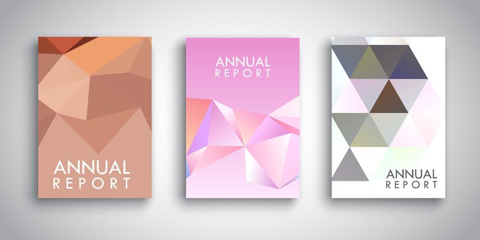 Modelos de brochura com desenhos abstratos de baixo poli vetor