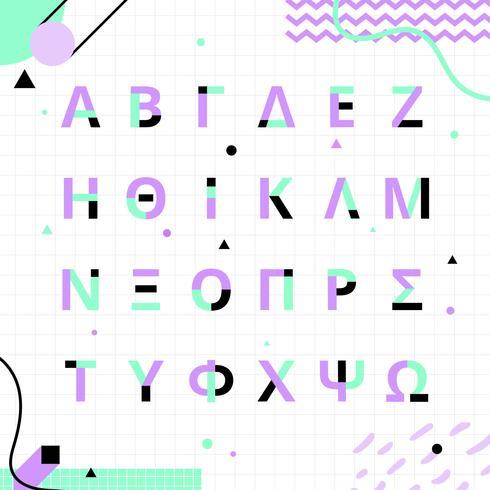 Memphis Style griechischen Alphabet Set